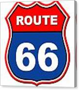 Historical Route 66 Sign Illustration Canvas Print