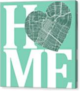 Houston Street Map Home Heart - Houston Texas Road Map In A Hear Canvas Print