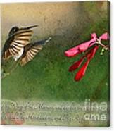 Hummingbird Morning With Verse Canvas Print