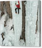Ice Climber Ascending At Ouray Ice Canvas Print