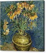Imperial Fritillaries In A Copper Vase Canvas Print