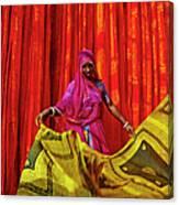 India, Rajasthan, Sari Factory Canvas Print