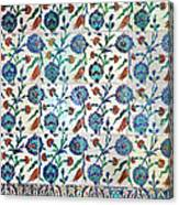 Iznik Ceramics With Floral Design Canvas Print