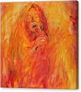 Janis Joplin On Fire Canvas Print