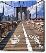 Lanes For Pedestrian And Bicycle Traffic On The Brooklyn Bridge Canvas Print
