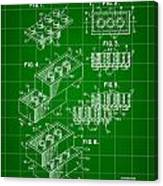Lego Patent 1958 - Green Canvas Print