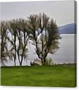 Loch Ness And Boat Jetty Next To Urquhart Castle Canvas Print