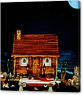 Log Cabin Scene With The Classic 1959 Dodge Royle Convertible In Color Canvas Print