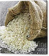 Long Grain Rice In Burlap Sack Canvas Print