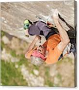 Man Climbing Re Azul, An Historic 7b Canvas Print