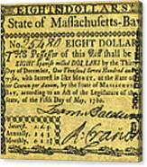 Massachusetts Banknote Canvas Print