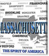 Massachusetts State Pride Map Silhouette  Canvas Print