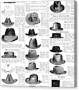 Men's Hats, 1895 Canvas Print