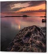 2 Mile Point Sunset And Moonrise Canvas Print
