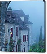 Misty Dawn In Saint Cirq Lapopie Canvas Print