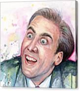 Nicolas Cage You Don't Say Watercolor Portrait Canvas Print