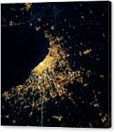 Night Time Satellite Image Of Chicago Canvas Print