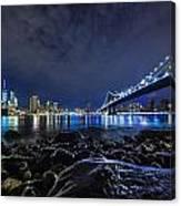 Night View To Manhattan Canvas Print