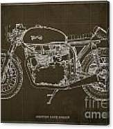 Norton cafe racer blueprint drawing by pablo franchi norton cafe racer blueprint canvas print malvernweather Images