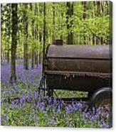 Old Farm Machinery In Vibrant Bluebell  Spring Forest Landscape Canvas Print