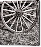 Old Wagon Wheel On Cart Canvas Print