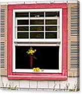 Open Window With Yellow Flower In Vase Canvas Print