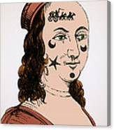 Ornamental Patches On Face 17th Century Canvas Print