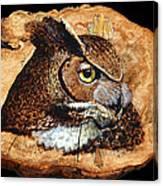Owl On Oak Slab Canvas Print