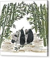 Panda Bear In Bamboo Bush Hand-torn Newspaper Collage Art  Canvas Print