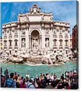 Panoramic View Of Fontana Di Trevi In Rome Canvas Print