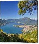 Panoramic View Over An Alpine Lake Canvas Print