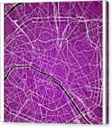 Paris Street Map - Paris France Road Map Art On Colored Backgrou Canvas Print