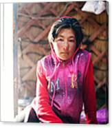 Portrait Of Young Kyrgyz Girl Inside A Yurt China Canvas Print