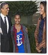 President Obama And Daughters Canvas Print