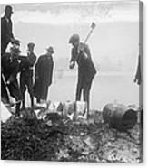 Prohibition Feds Destroy Liquor  1923 Canvas Print