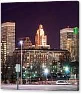 Providence Rhode Island Skyline At Night Canvas Print