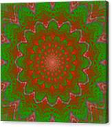 Psychedelic Spiral Vortex Green And Red Fractal Flame Canvas Print