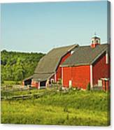 Red Barn And Fence On Farm In Maine Canvas Print