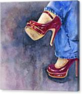 Red Heels And Jeans Canvas Print