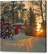 Red House In The Winter Canvas Print