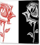 2 Red Rose Drawing Combo Canvas Print