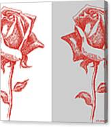 2 Red Roses Poster Canvas Print