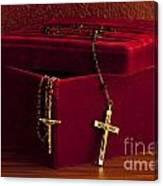 Red Velvet Box With Cross And Rosary Canvas Print