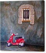 Red Vespa Canvas Print