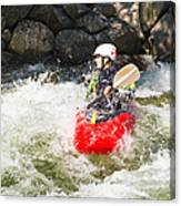 Red Whitewater Kayak Canvas Print