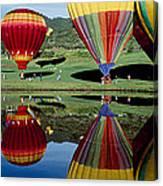 Reflection Of Hot Air Balloons Canvas Print