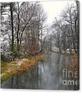 River With Snow Canvas Print