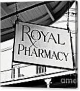Royal Pharmacy - Bw Canvas Print