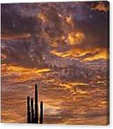 Silhouetted Saguaro Cactus Sunset At Dusk With Dramatic Clouds Canvas Print