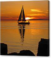 Sister Bay Sunset Sail 2 Canvas Print